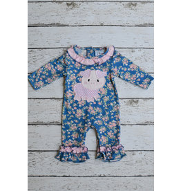 Three Sisters Little Piggy Applique Girls Knit Romper