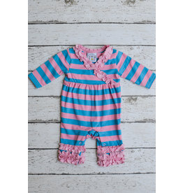 Three Sisters Pink & Turquoise Girls Knit Romper
