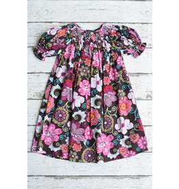 Pink Abstract Floral Print Smocked Bishop Dress