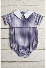 Basic Boy Peter Pan Point Collar Navy Check Bubble
