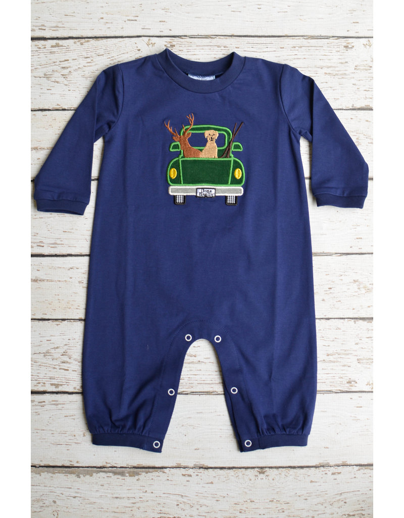 Three Sisters Gone Hunting Applique Knit Romper