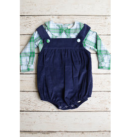 Banana Split Navy Cord Bubble with Blue Plaid Shirt