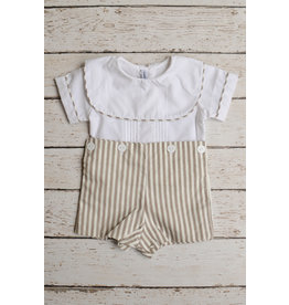 Sweet Dreams Taupe Stripe Button On Romper