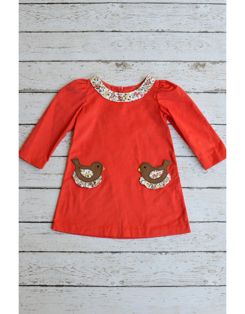 Zuccini Corduroy Two Birds Applique Dress