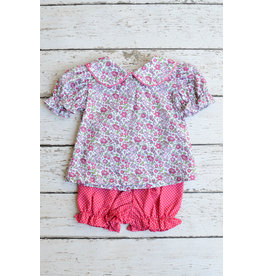 Zuccini Floral Peter Pan Collar Blouse with Fuchsia Pin Dot Bloomers