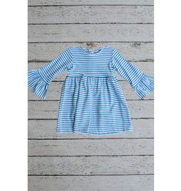 Zuccini Basic Bell Sleeve Dress in Turquoise Stripe