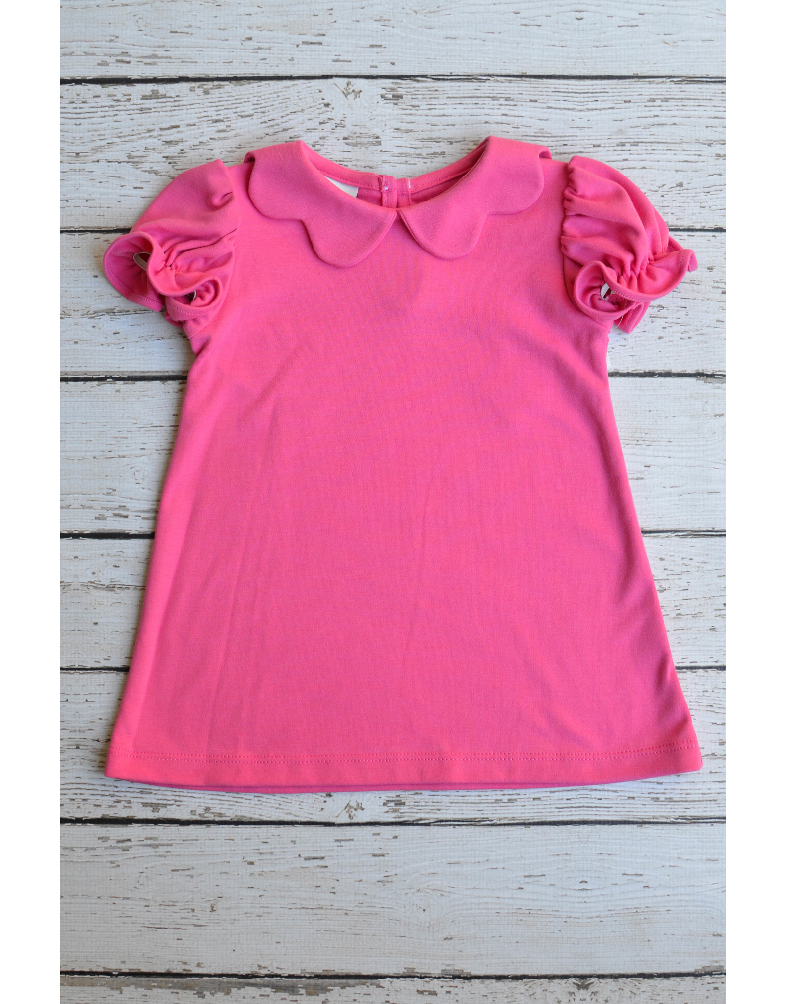 Fuchsia Scallop Collar Knit Dress