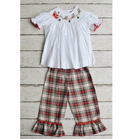 Banana Split Sleigh Ride Smocked Bishop Top and Ruffle Pants