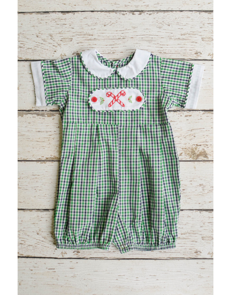 Remember Nguyen Green Plaid Candy Cane Boy Romper