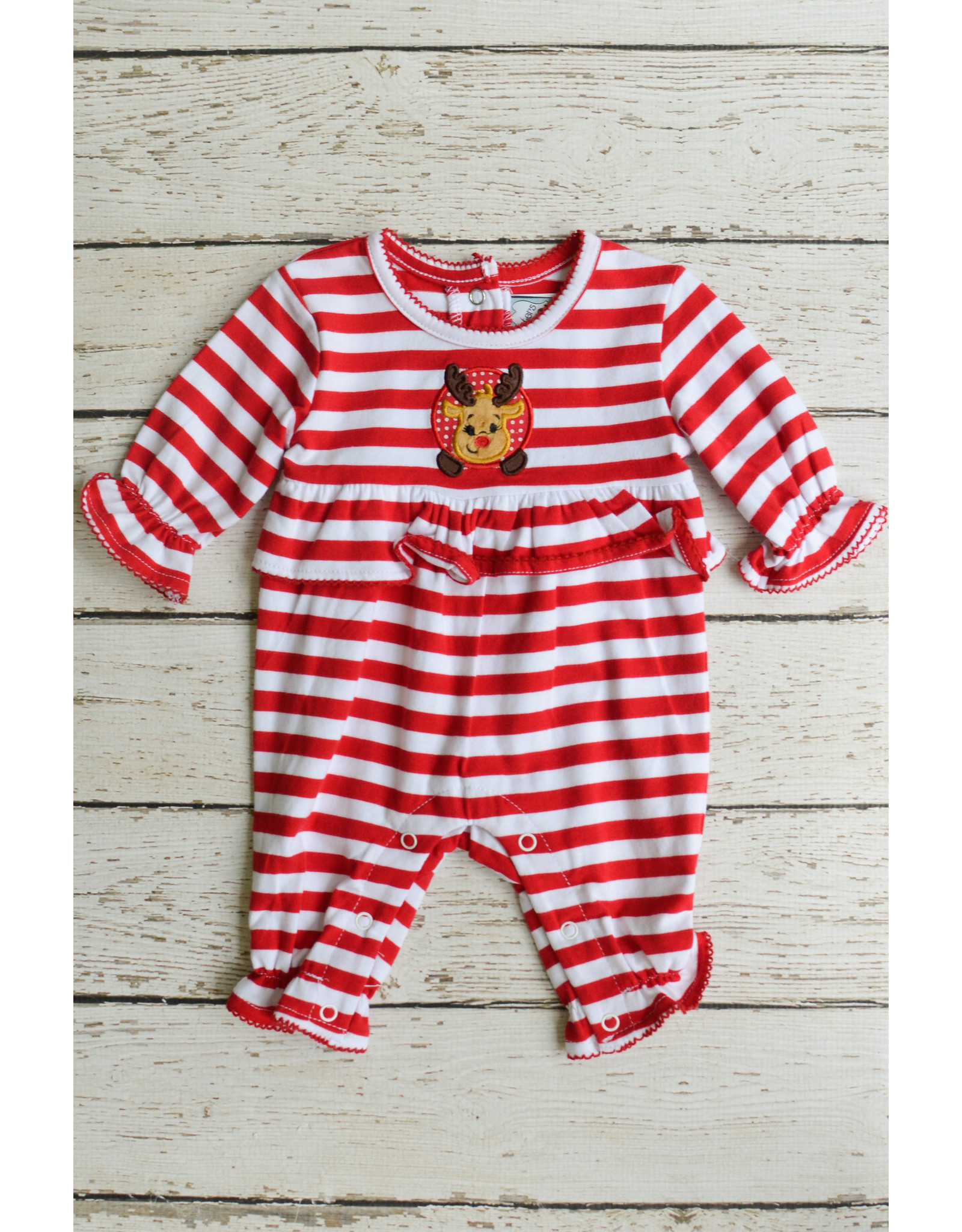 Three Sisters Reindeer Applique Girls Romper