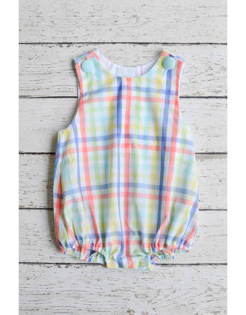 Banana Split Monogrammable Boys Bubble in Multi Gingham