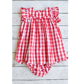 Sage & Lilly Sweet Strawberry Scallop Hem Dress with Bloomers