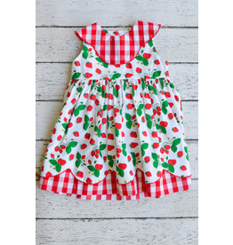 Sage & Lilly Sweet Strawberry Scallop Double Dress and Bloomers