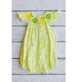 Lemon and Lime Smocked Angel Sleeve Bishop Bubble