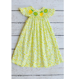 Lemon and Lime Smocked Angel Sleeve Bishop Dress