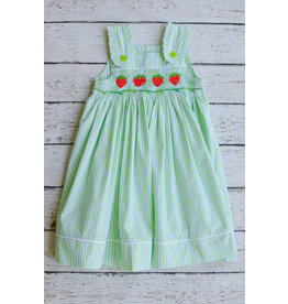 Smocked Strawberry Sundress in Green Gingham