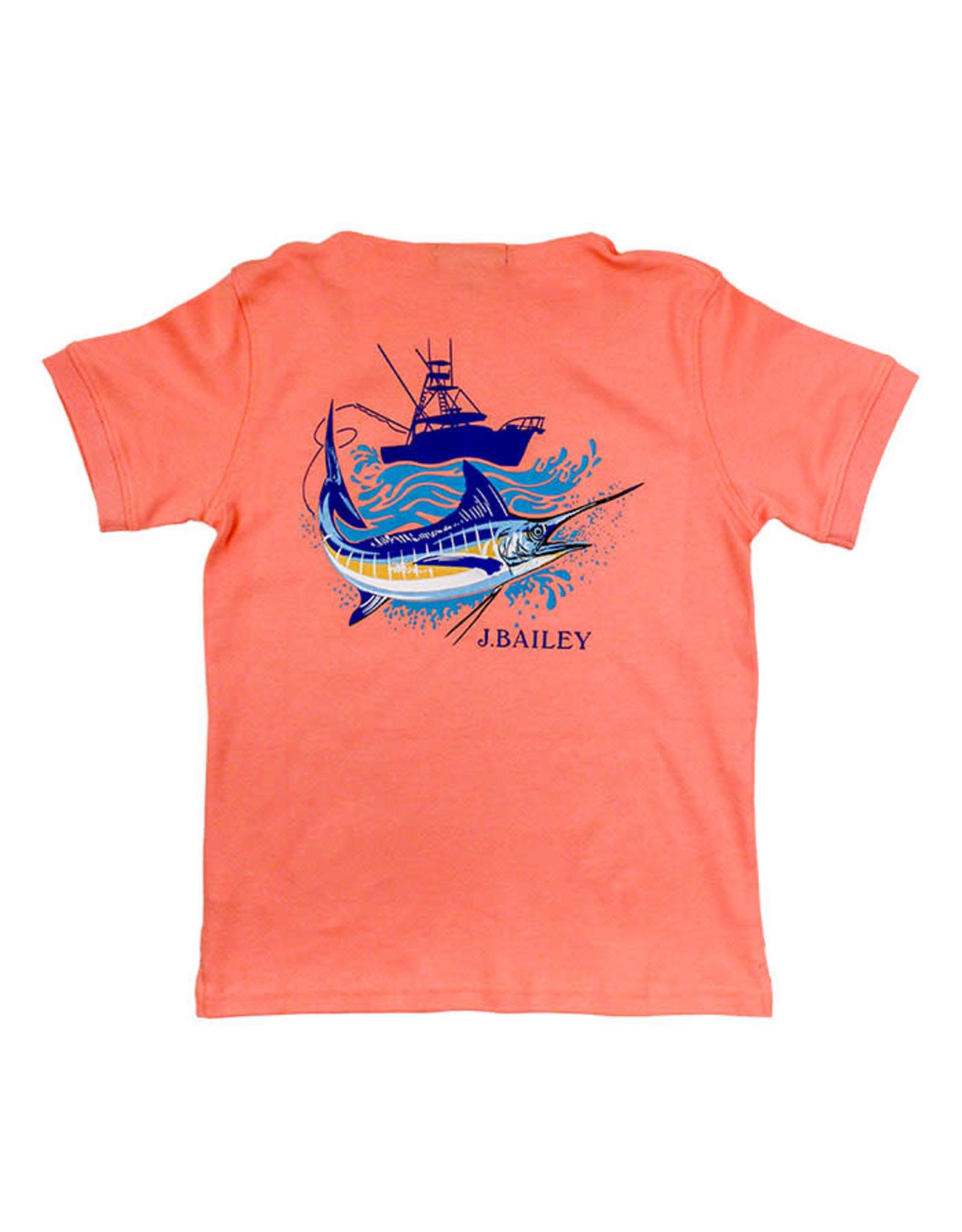 J Bailey Boat/Marlin Coral Logo Tee