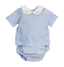 The Bailey Boys Duck Embroidered Blue Stripe Diaper Set