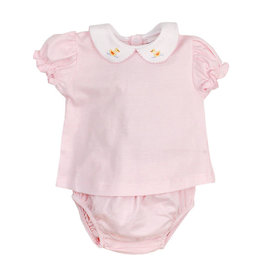 The Bailey Boys Duck Embroidered Pink Stripe Diaper Set