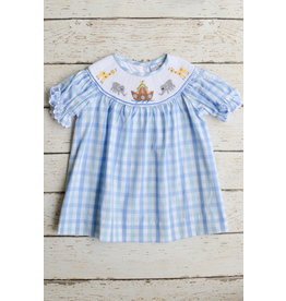 Three Sisters Noahs Ark Smocked Bishop Dress