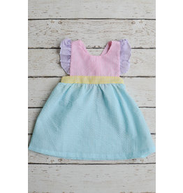 Three Sisters Multi Seersucker Girls Dress with Bow