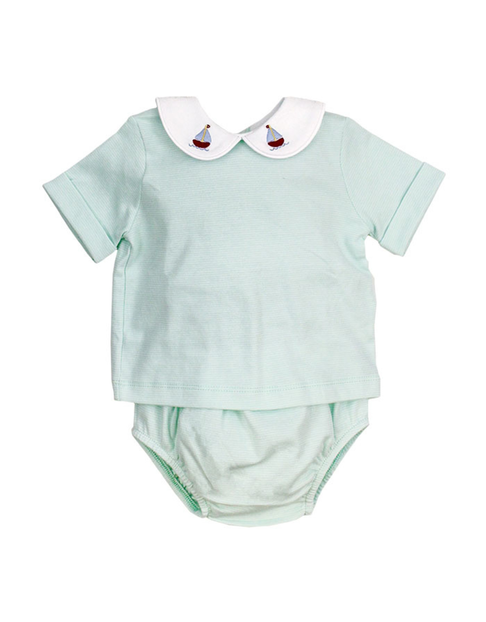 The Bailey Boys Sailboat Embroidered Seaglass Stripe Diaper Cover Set