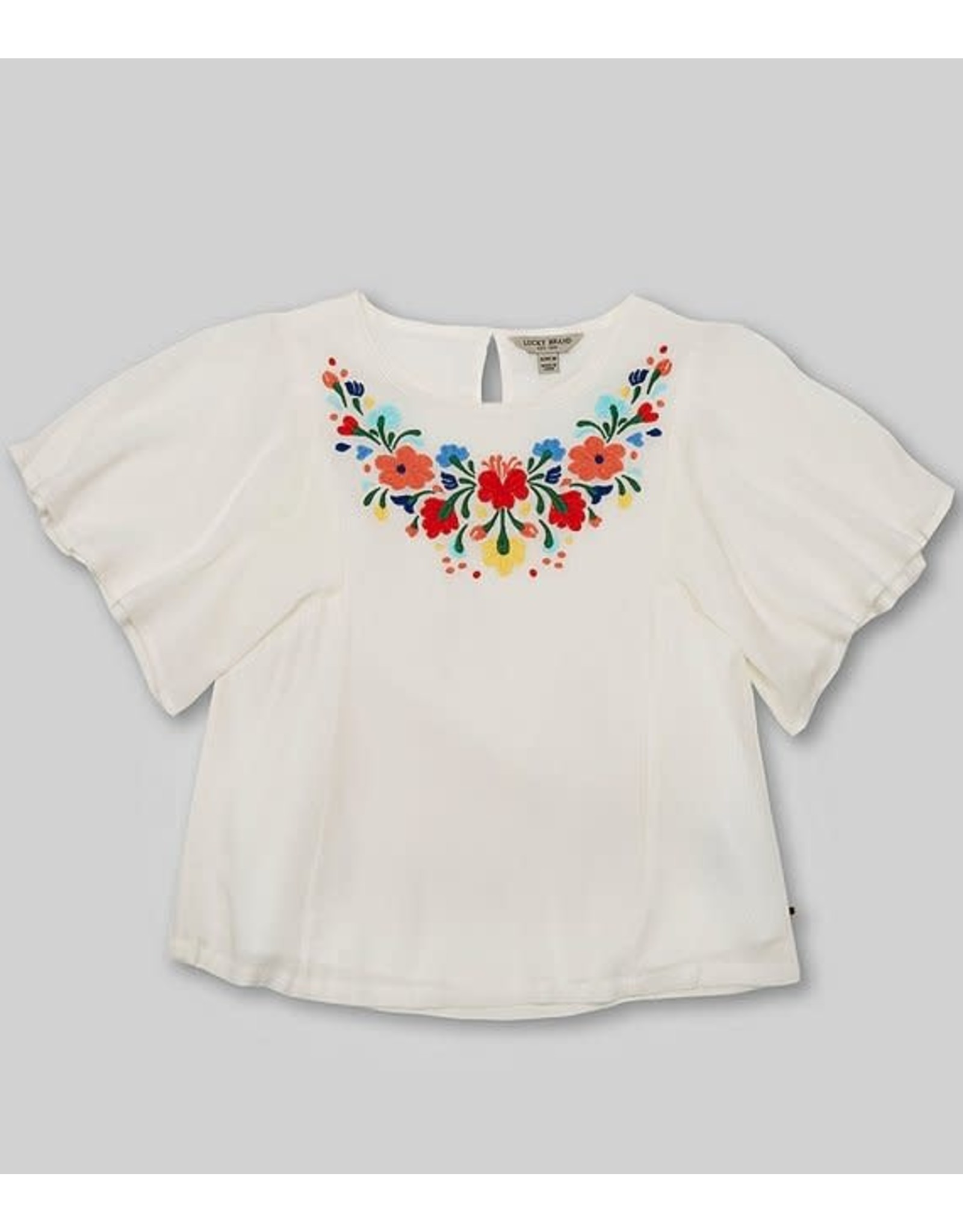 Lucky Brand Phyllie Floral Embroidered Top