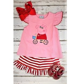 Three Sisters Pig Fun Applique Shirt and Shorts