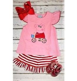 Three Sisters Pig Fun Applique Shirt and Shorts