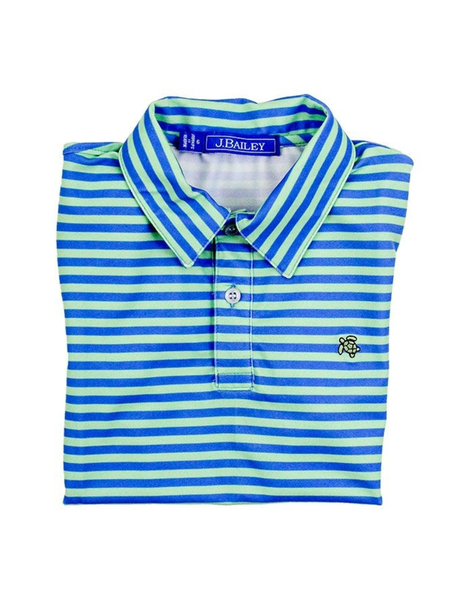 J Bailey Blue/Green Performance Polo
