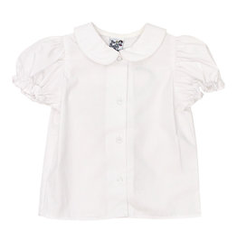 The Bailey Boys Girls White Puffed S/S Blouse W/ Collar Piping