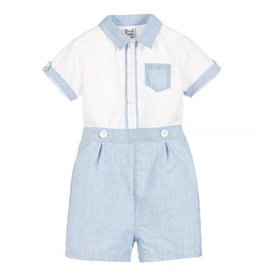 Sarah Louise Blue and White Button Down Shirt With Shorts