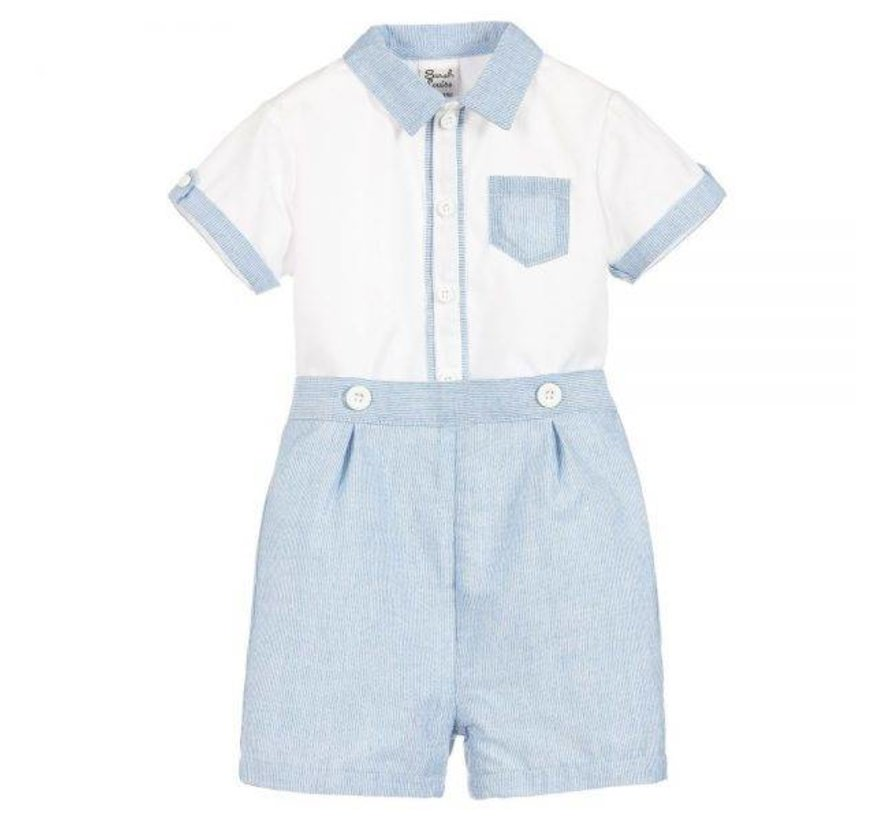 Blue and White Button Down Shirt With Shorts