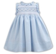 Sarah Louise Blue Striped Seersucker Sleeveless Smocked Dress