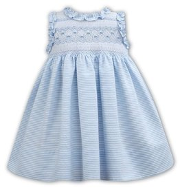 Sarah Louise Blue Striped Seersucker Sleeveless Smocked Dress