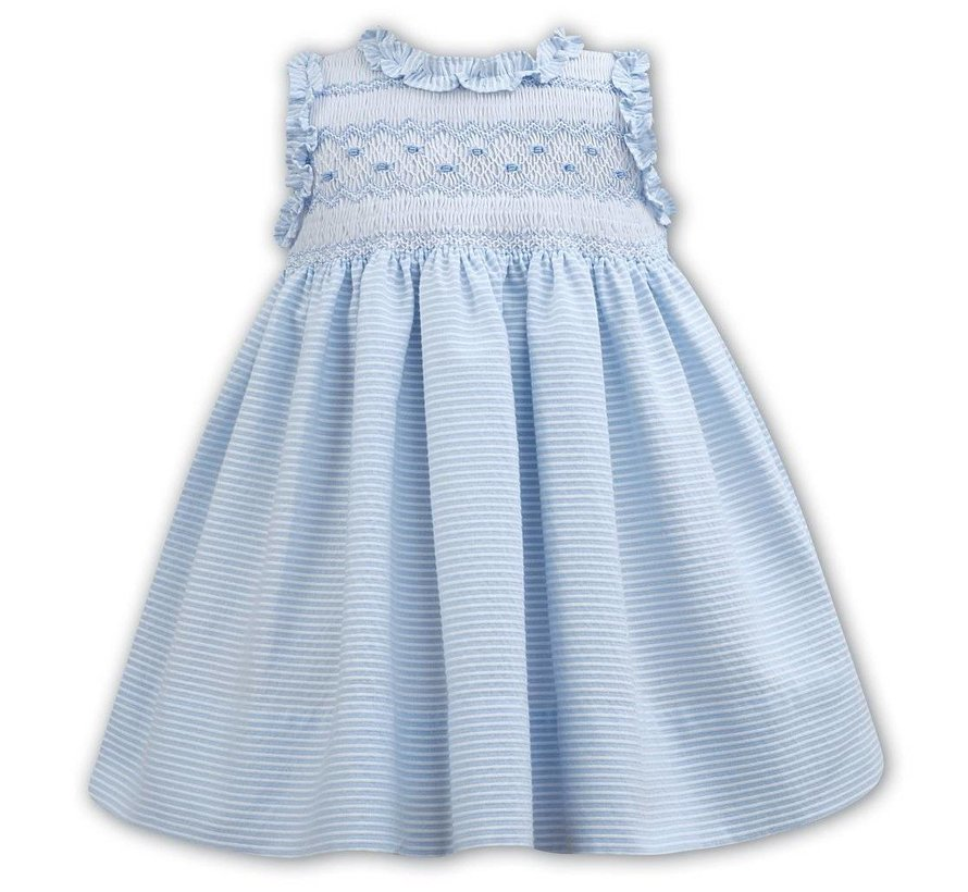 Blue Striped Seersucker Sleeveless Smocked Dress