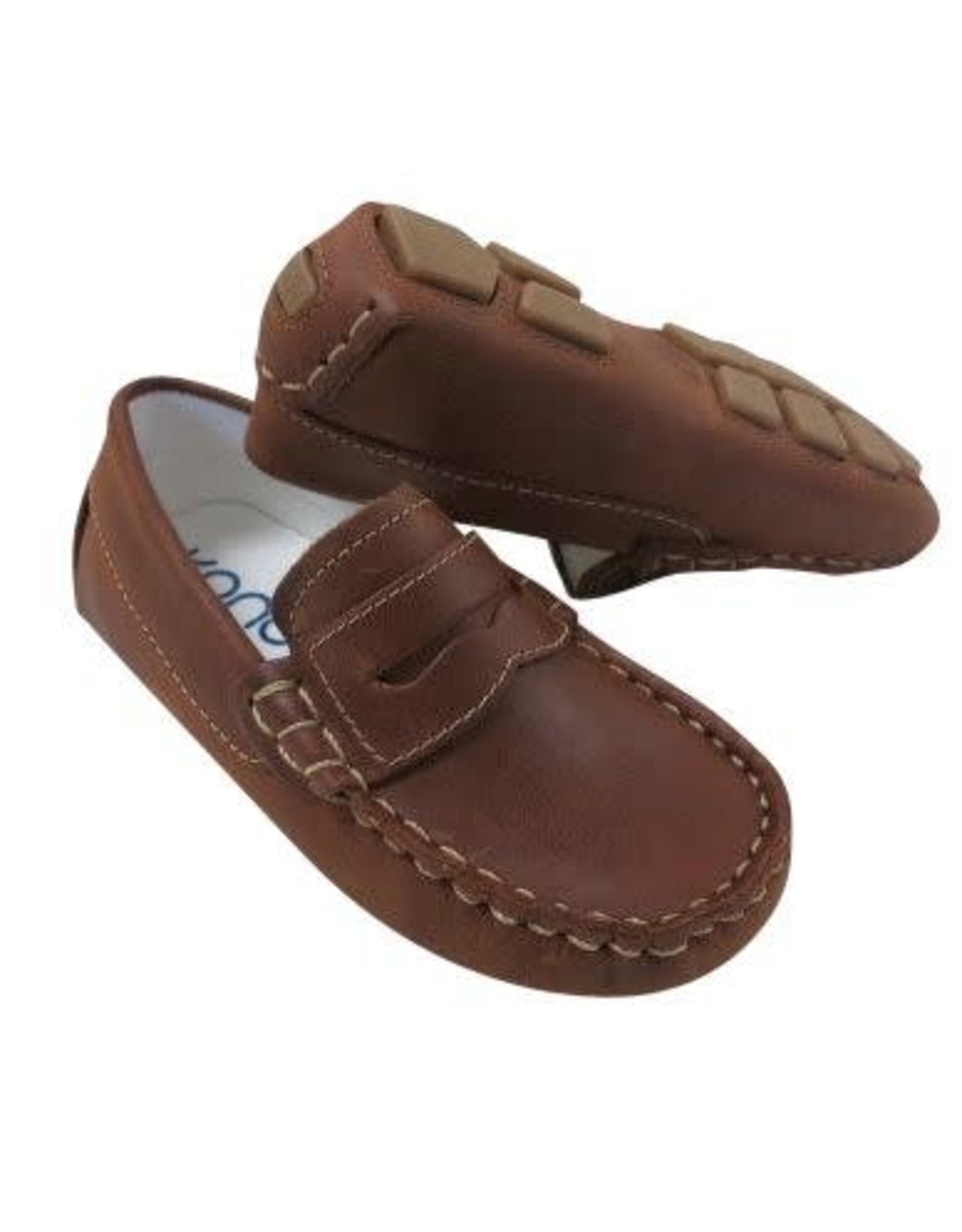 Kone Driving Moc Penny Loafer in Copper Distressed Leather