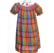 Fall Plaid Barnyard Smocked Short Sleeve Bishop Dress