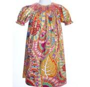 Fall Abstract Paisley Smock Geo Short Sleeve Bishop Dress
