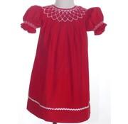 Red Cord Geo Smocked Pearl Short Sleeve Bishop Dress
