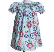 Geo Smocked Floral Paisley Bishop Dress