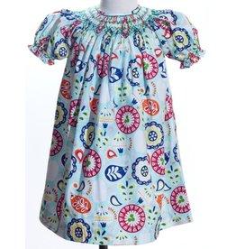 Geo Smocked Floral Paisley Bishop Dress