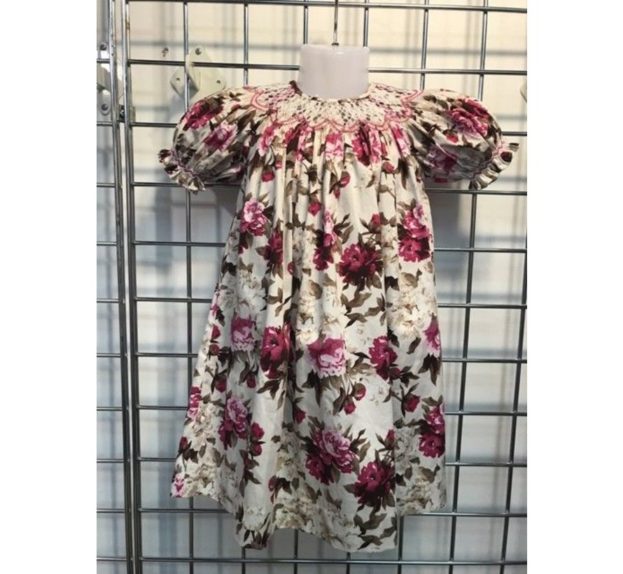 Vintage Floral Geo Smocked Short Sleeve Bishop Dress