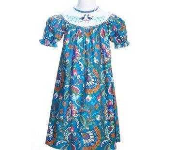 Smocked Peacock Short Sleeve Bishop Dress