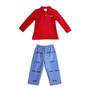 Zuccini Embroidered Train Polo and Reversible Pants Set