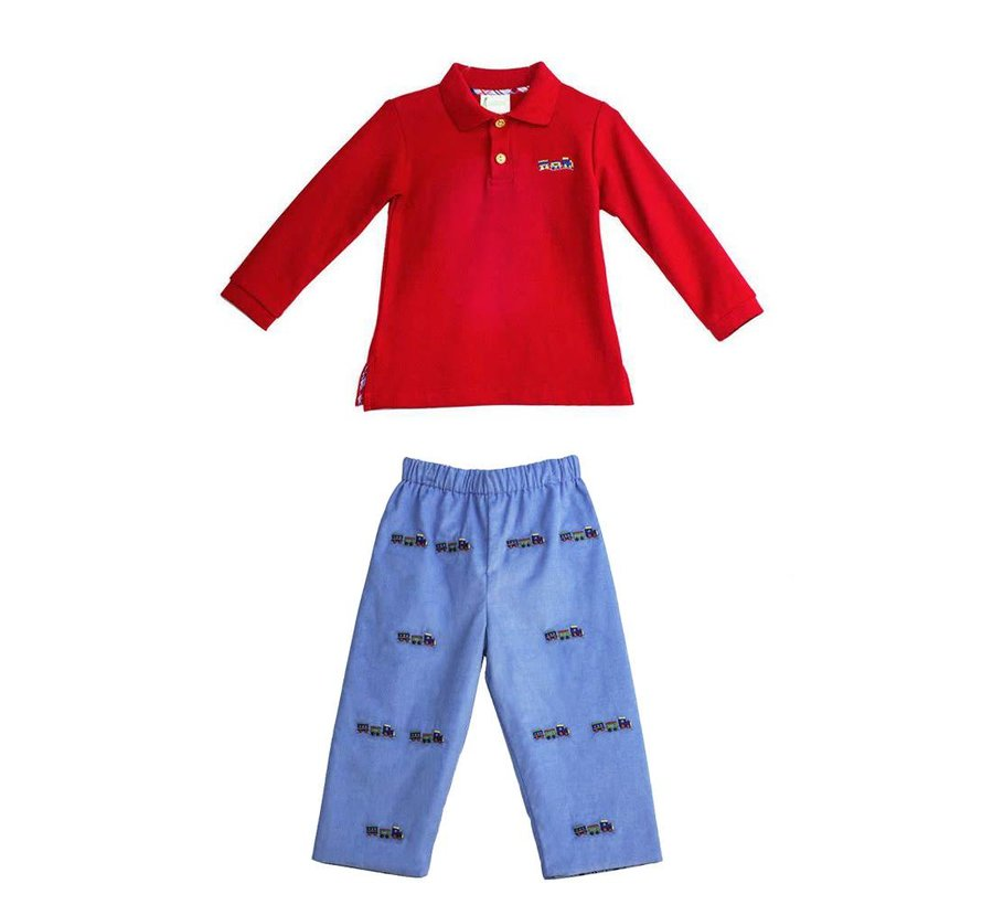 Embroidered Train Polo and Reversible Pants Set