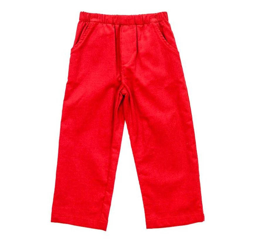 Red Corduroy Elastic Pants