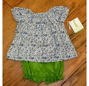 ZUCCINI CORP Navy Floral Blouse with Sage Green Bloomers Set