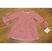 ZUCCINI CORP Basic Bell Sleeve Dress in Red Stripe