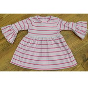 Zuccini Basic Bell Sleeve Dress in Pink Multi Stripe
